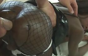 Ebony tranny with big tits gets anal fucked by white cock